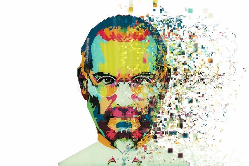 Bożenarodzeniowa wyspa, Australia, Sierpień 8, 2017: ilustracja w sztuka stylu w postaci mozaiki Steve Jobs zdjęcia royalty free