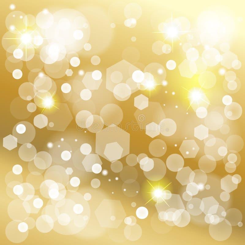 Bożenarodzeniowa złocista bokeh świateł skutka tapeta ilustracja wektor