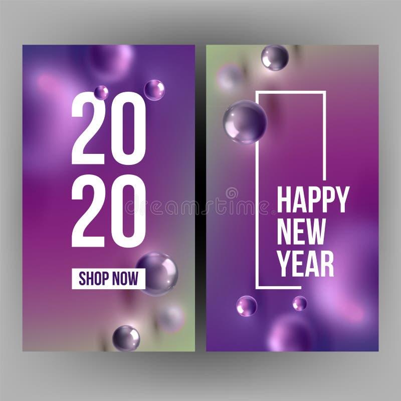 Bożenarodzeniowa zaproszenie karta Świętuje 2020 wektor ilustracji