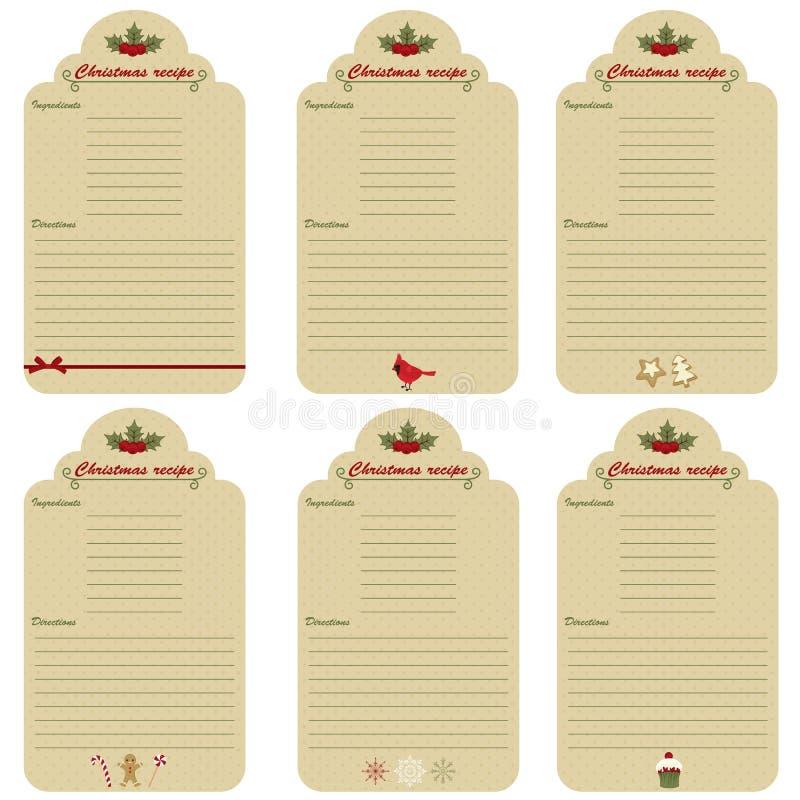 Bożenarodzeniowe świąteczne przepis karty royalty ilustracja