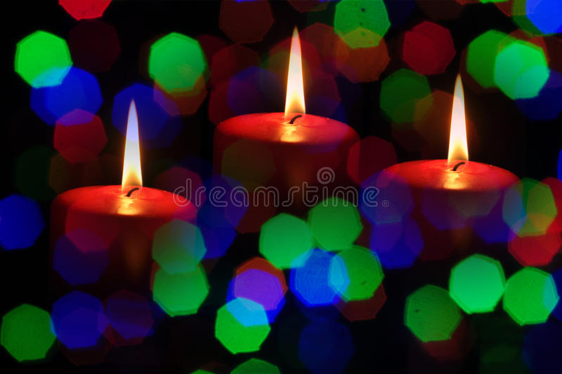 Bożenarodzeniowe świeczki plam fotografia royalty free
