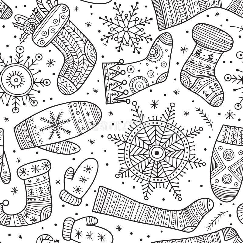 Bożenarodzeniowe boho mitynki, płatki śniegu i skarpeta bezszwowy wzór, ilustracji
