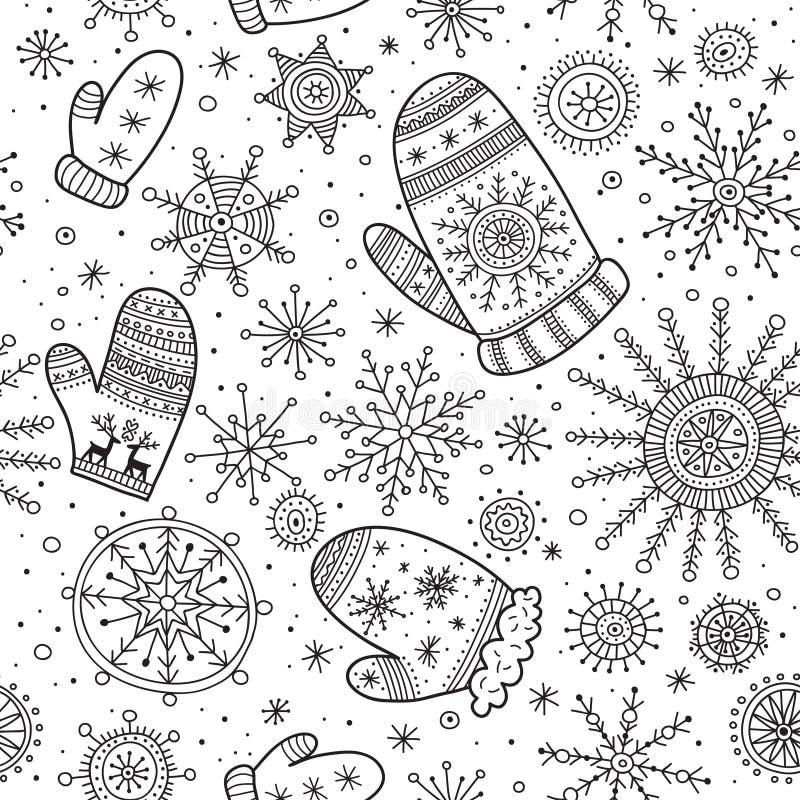Bożenarodzeniowe boho mitynki z płatka śniegu bezszwowym wzorem ilustracja wektor