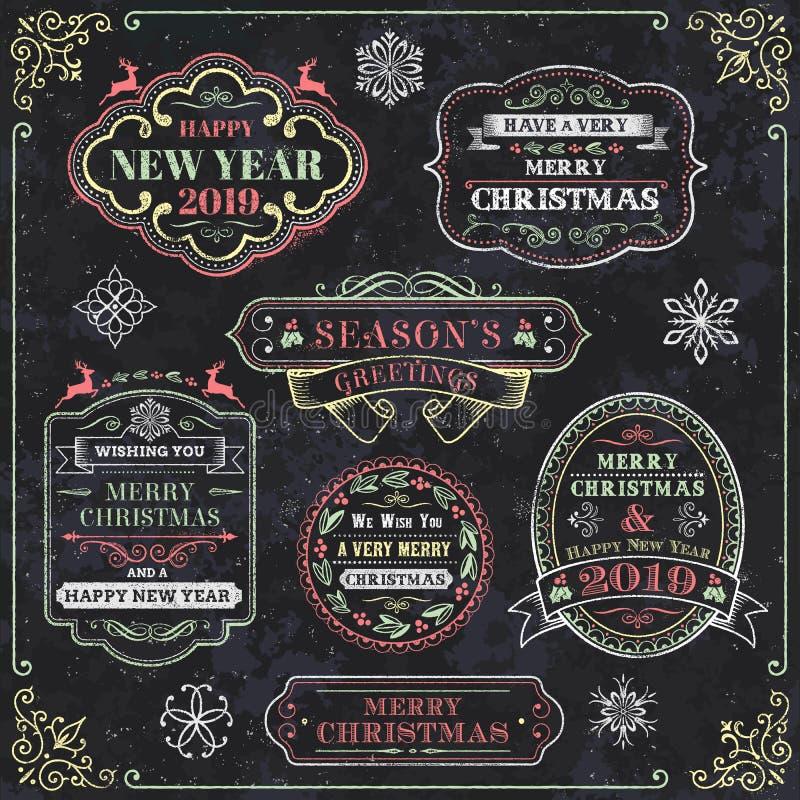 Bożenarodzeniowe Chalkboard wektoru etykietki ilustracja wektor