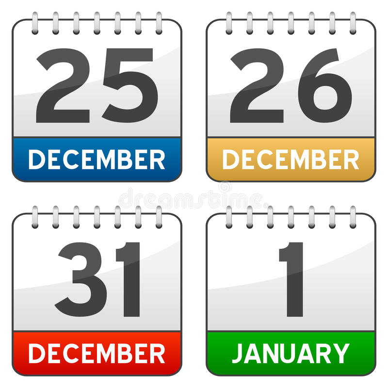 Bożenarodzeniowe Czas Kalendarza Ikony ilustracja wektor