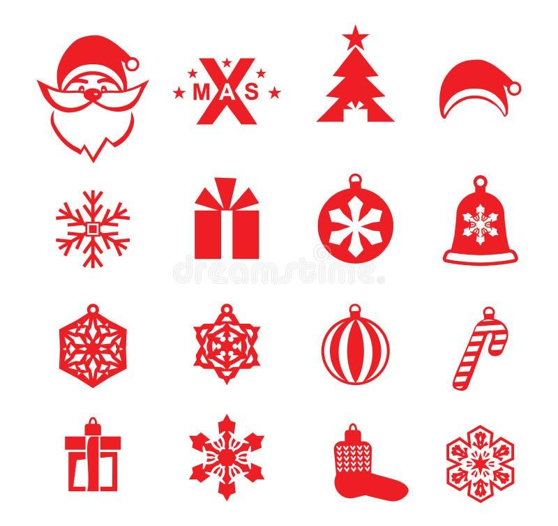 Bożenarodzeniowe czerwone ikony na białym tle Santa, Xmas logo i boże narodzenie dekoracje, ilustracja wektor