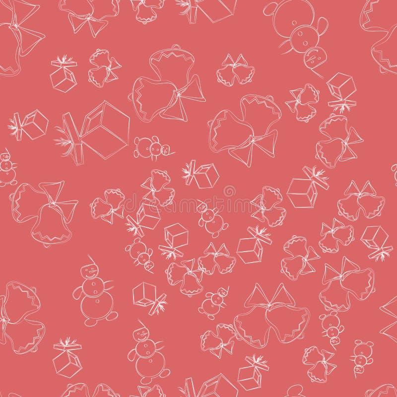 Bożenarodzeniowe dekoracje doodle, bezszwowy wzór na różowym tle Doskonalić dla tapety, opakunkowy papier ilustracja wektor