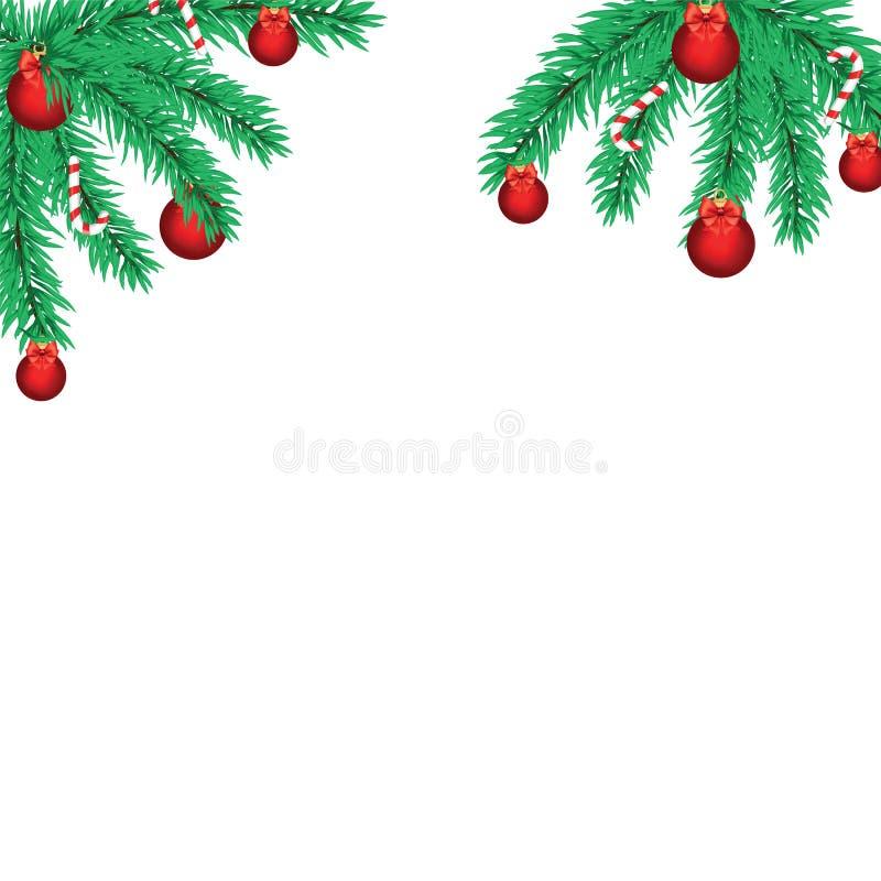 Bożenarodzeniowe dekoracje z jedlinowym drzewem i dekoracyjnymi elementami Vec royalty ilustracja