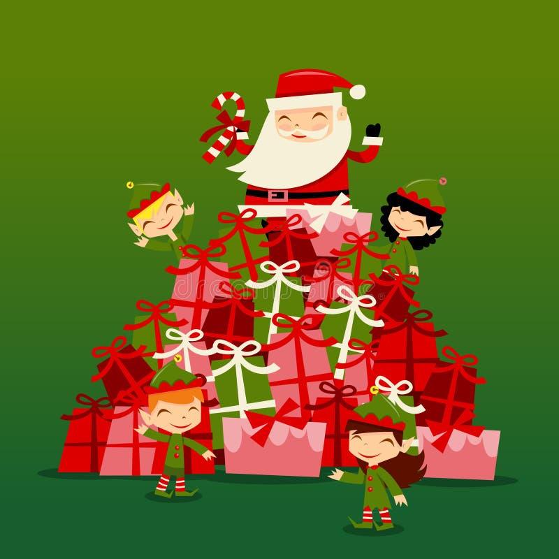 Bożenarodzeniowe elfa Santa prezenta sterty ilustracja wektor