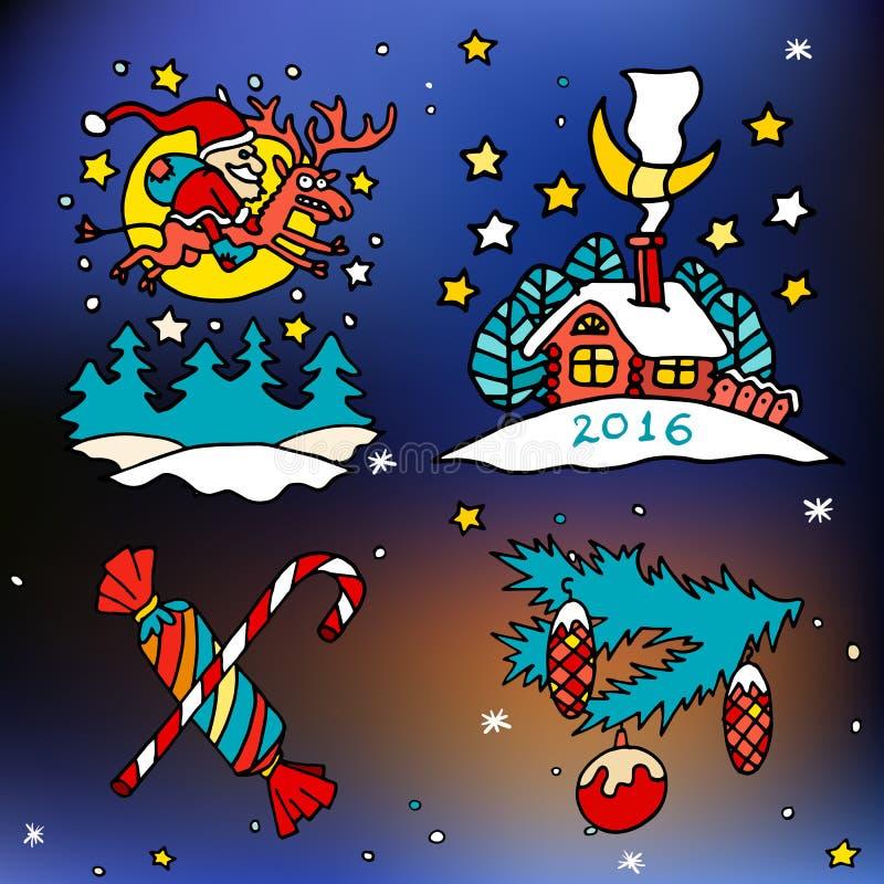 Bożenarodzeniowe i szczęśliwe nowe 2016 rok kreskówki wektorowe ikony royalty ilustracja