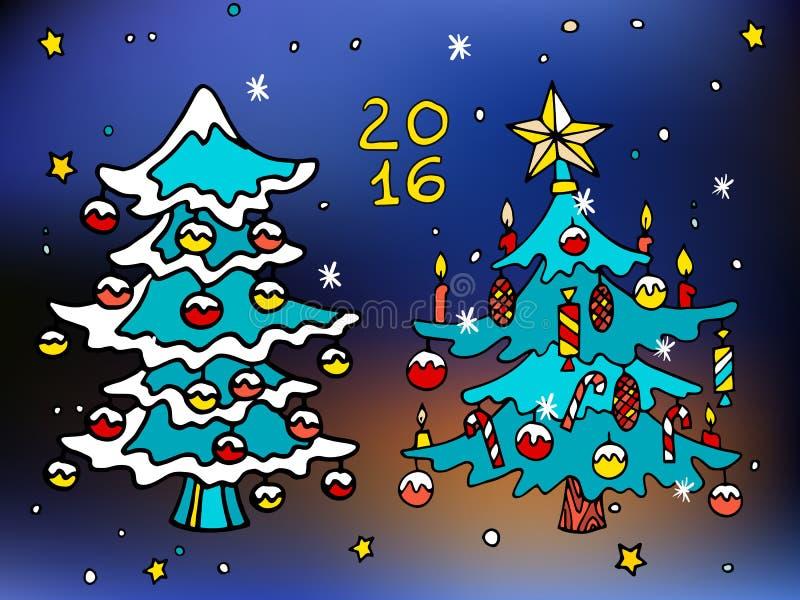 Bożenarodzeniowe i szczęśliwe nowe 2016 rok kreskówki wektorowe ikony z dekorującymi drzewami ilustracja wektor