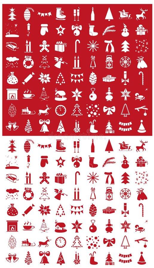 Bożenarodzeniowe ikony na biały i czerwonym royalty ilustracja