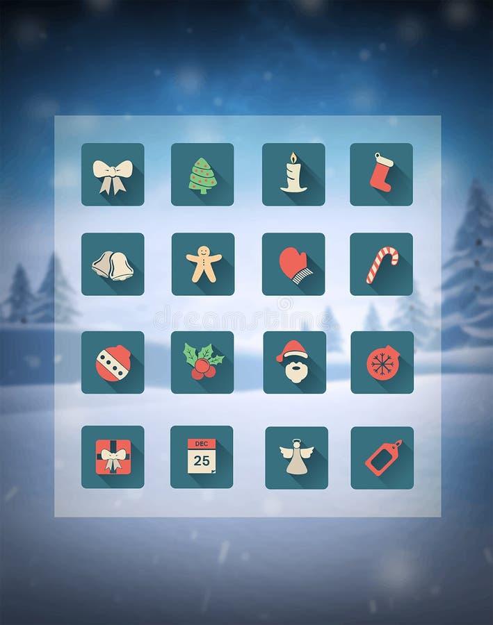 Bożenarodzeniowe ikony w siatce nad śnieżną sceną ilustracji