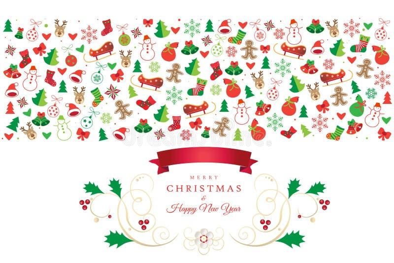 Bożenarodzeniowe kartka z pozdrowieniami Xmas ikony i symbole royalty ilustracja