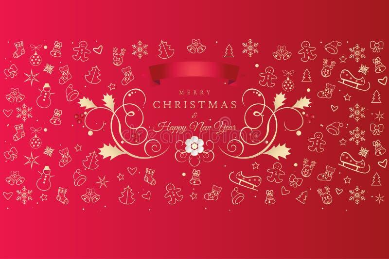 Bożenarodzeniowe kartka z pozdrowieniami Xmas ikony i symbole ilustracji