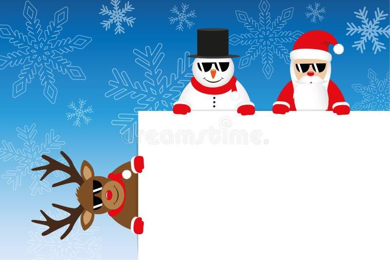Bożenarodzeniowe kreskówki reniferowy Santa i bałwan z białym zawiadomieniem royalty ilustracja