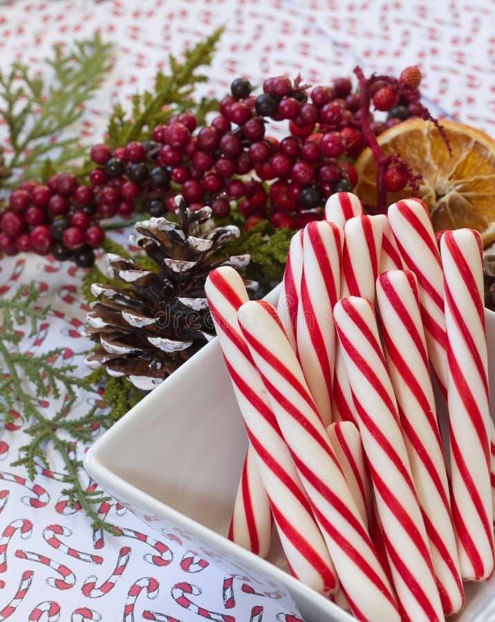 Bożenarodzeniowe Miętowe trzciny otaczać świąteczną girlandą fotografia stock