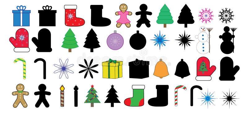 Bożenarodzeniowe nowy rok ikony, wizerunki i sylwetka, set, ilustracji