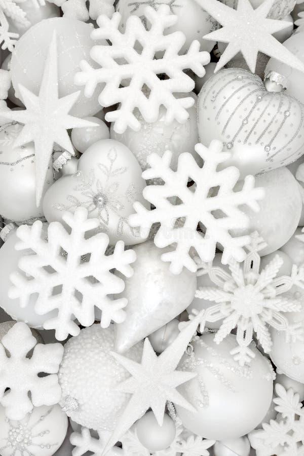 Bożenarodzeniowe płatek śniegu dekoracje, Baubles i obrazy stock