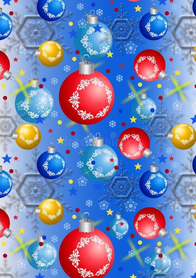 Bożenarodzeniowe piłki i płatki śniegu na błękitnym gradientowym tle ilustracji