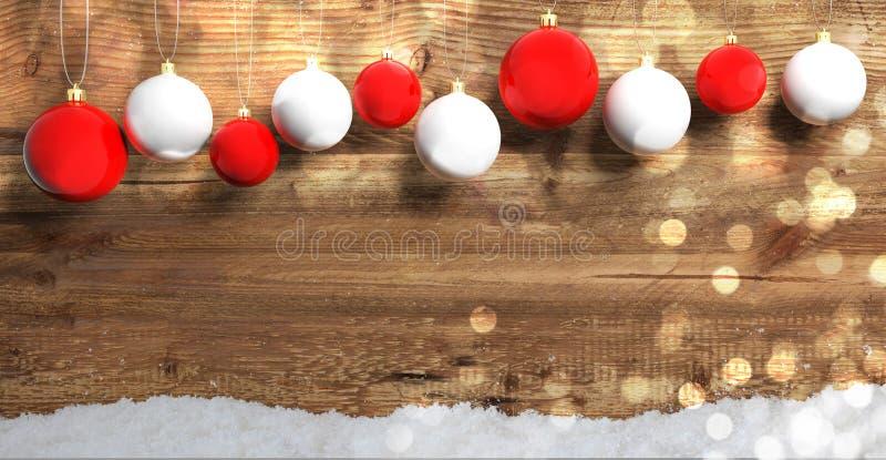 Bożenarodzeniowe piłki na drewnianym tle z śniegiem, kopii przestrzeń ilustracja 3 d ilustracja wektor