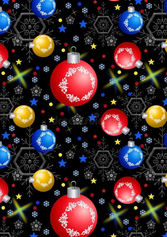 Bożenarodzeniowe piłki, płatki śniegu i gwiazdy na czarnym tle, ilustracja wektor