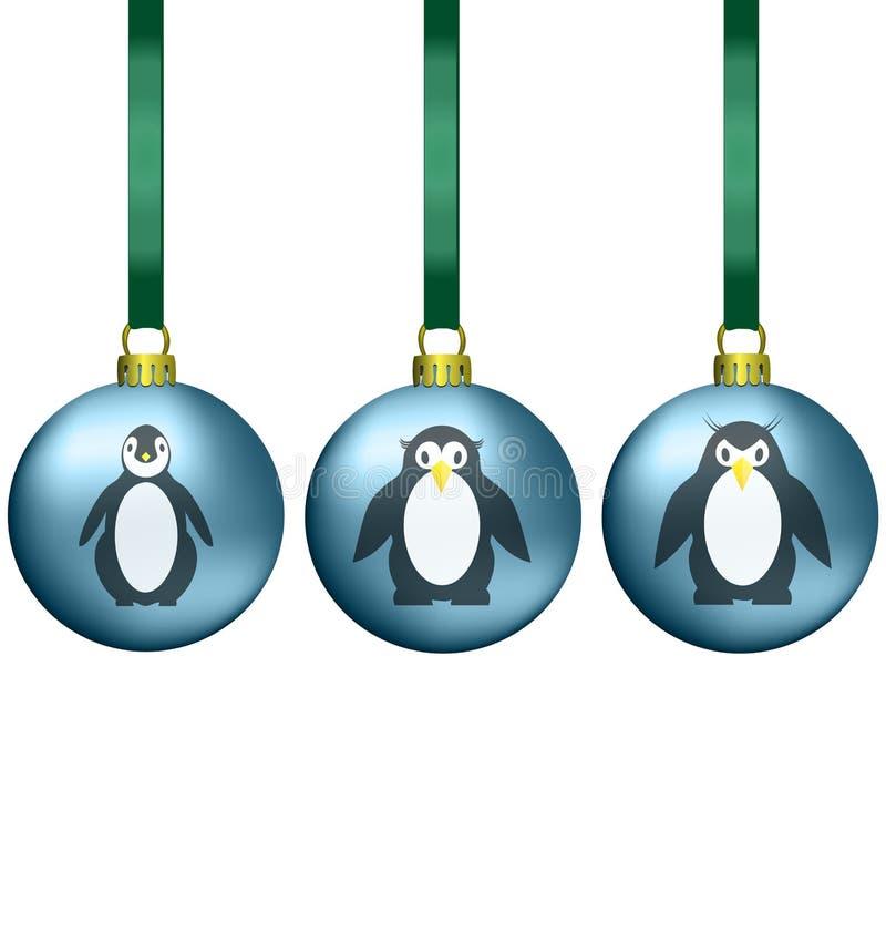 Bożenarodzeniowe piłki z pingwinami rodzinnymi royalty ilustracja