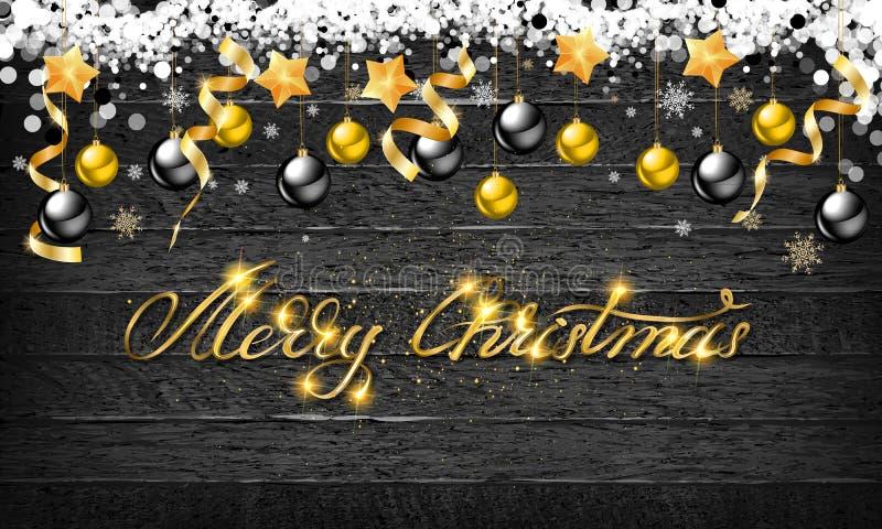 Bożenarodzeniowe piłki z złocistymi gwiazdami i confetti na drewnianym tle Wakacyjnego literowania Wesoło boże narodzenia i Szczę ilustracji