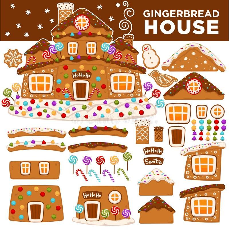 Bożenarodzeniowe piernikowego domu konstruktora kreskówki ciastka cukierku powitania nowego roku karty ikony royalty ilustracja