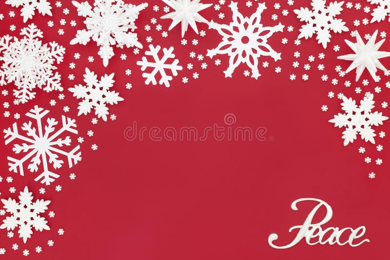 Bożenarodzeniowe pokoju płatka śniegu i znaka dekoracje obrazy stock