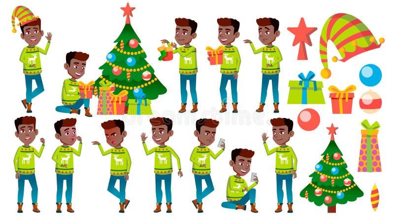 Bożenarodzeniowe pozy Ustawiający chłopiec wektor czerń Afro amerykanin nowy rok, Aktywny Śliczny dziecko Dla sieci, broszurka, P ilustracji