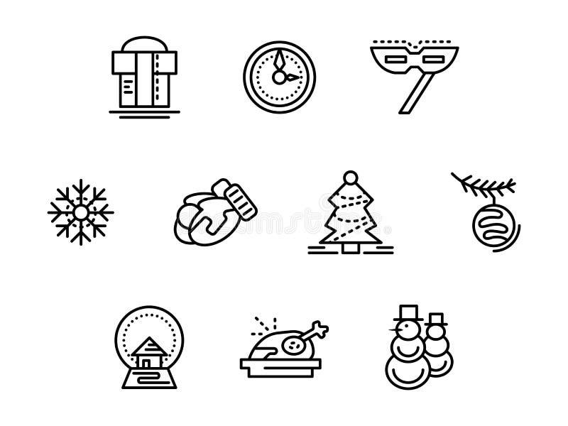 Bożenarodzeniowe symbolu czerni linii ikony ustawiać ilustracji