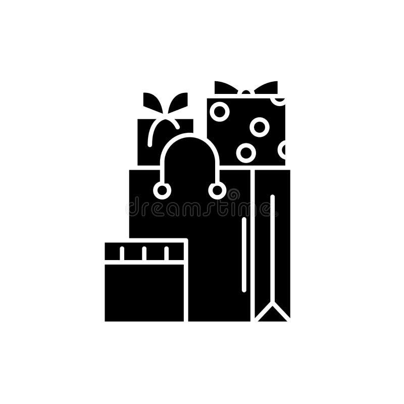 Bożenarodzeniowe teraźniejszość czarna ikona, wektoru znak na odosobnionym tle Bożenarodzeniowych teraźniejszość pojęcia symbol,  ilustracja wektor