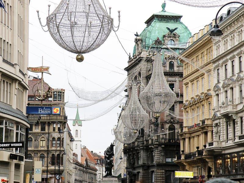 Bożenarodzeniowe Uliczne dekoracje w Wiedeń, Austria obrazy royalty free