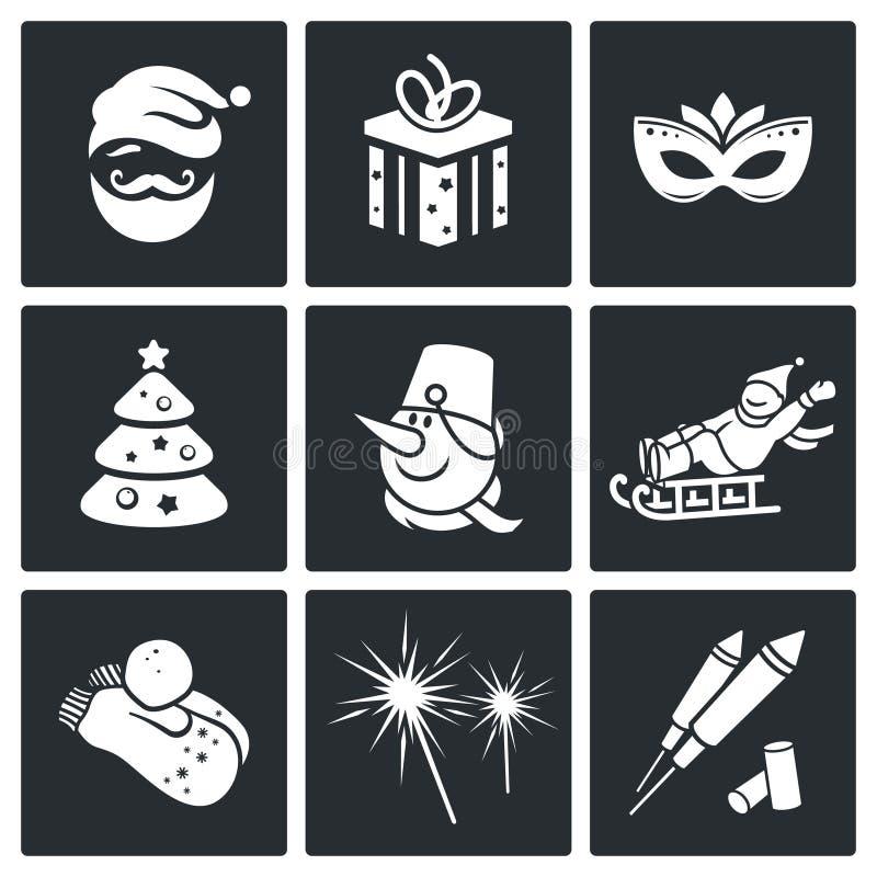 Bożenarodzeniowe Wektorowe ikony Ustawiać ilustracja wektor
