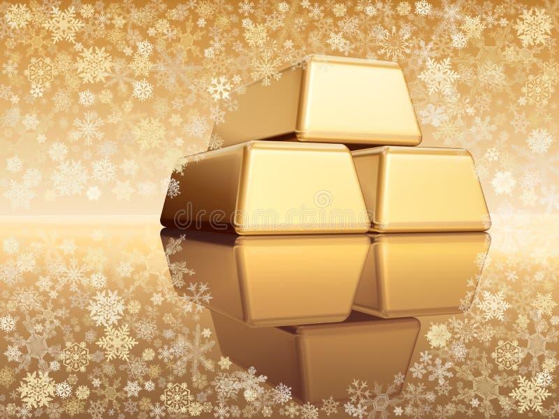 Bożenarodzeniowe złote sztaby fotografia stock