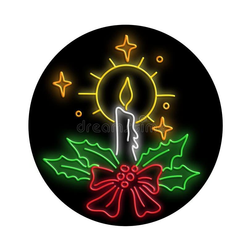 Bożenarodzeniowego świeczka wianku Owalny Neonowy znak royalty ilustracja