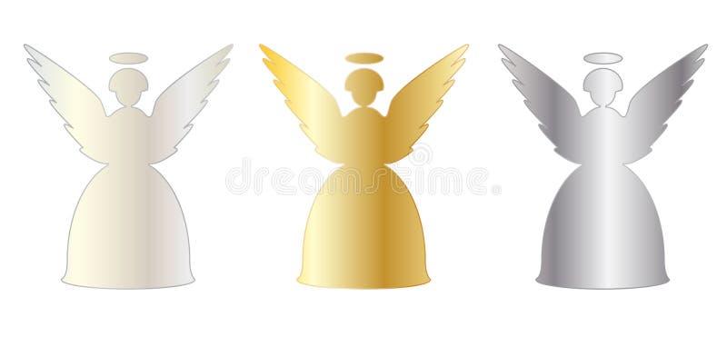 Bożenarodzeniowego anioła ustalona ikona ilustracji