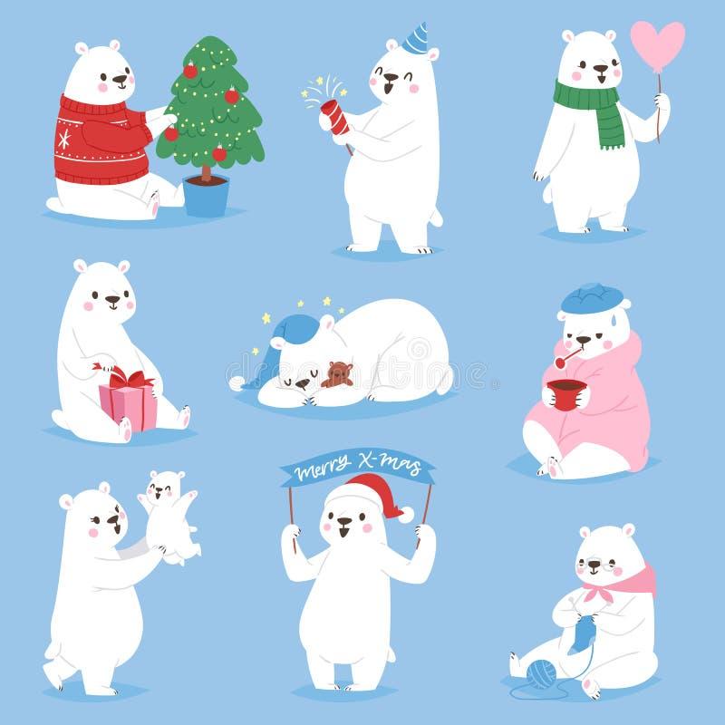 Bożenarodzeniowego białego niedźwiedzia piękna charakteru wektorowego zwierzęcego ślicznego śmiesznego stylu różne pozy świętują  ilustracji