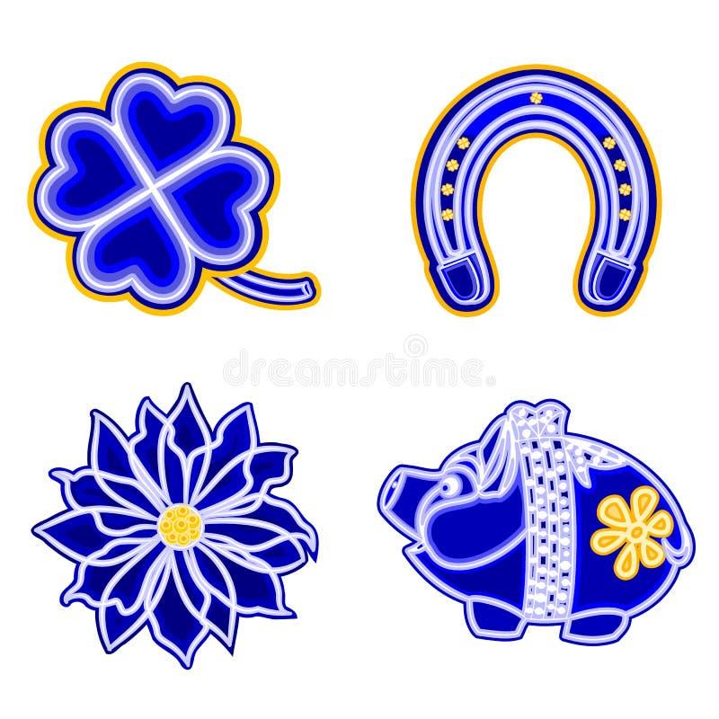 Bożenarodzeniowego dekoraci faià ¡ błękitnego nse podkowy poinseci prosiątka Koniczynowy wektor ilustracja wektor