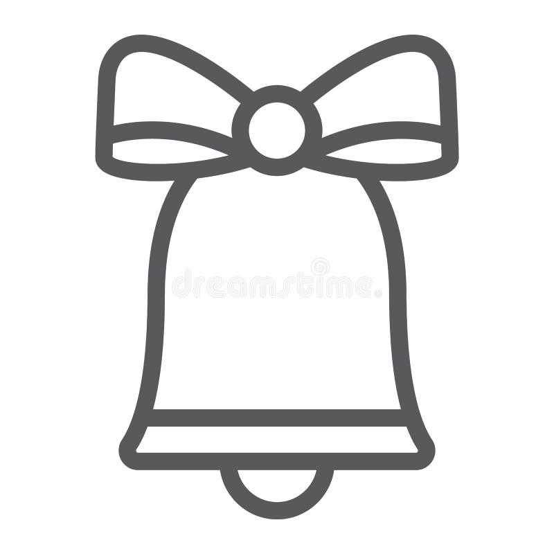 Bożenarodzeniowego dzwonu linii ikona, xmas i projekt, handbell znak, wektorowe grafika, liniowy wzór na białym tle ilustracja wektor