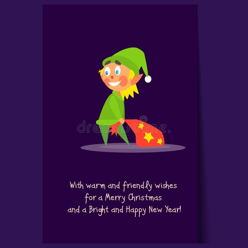 Bożenarodzeniowego elfa przewożenia Teraźniejsza torba Płaski wektor royalty ilustracja
