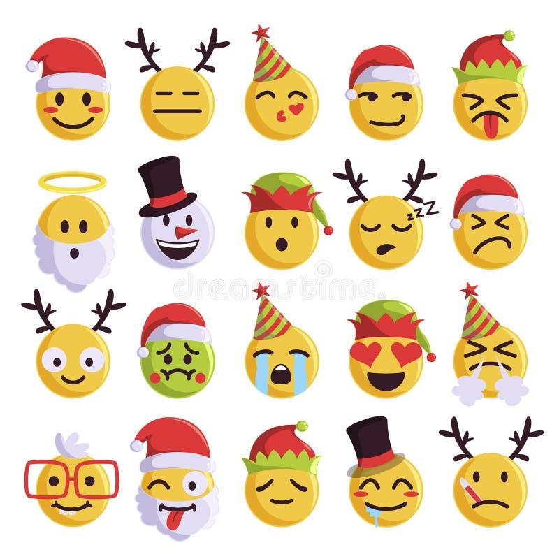 Bożenarodzeniowego emoji śmieszny i śliczny wakacje set royalty ilustracja