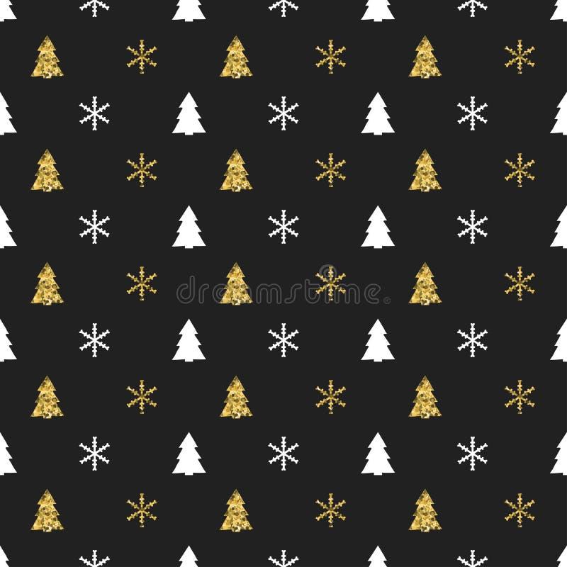 Bożenarodzeniowego nowego roku bezszwowy wzór z płatek śniegu choinką kolor tła wakacje czerwonego żółty Xmas zimy dekoracja złot ilustracja wektor