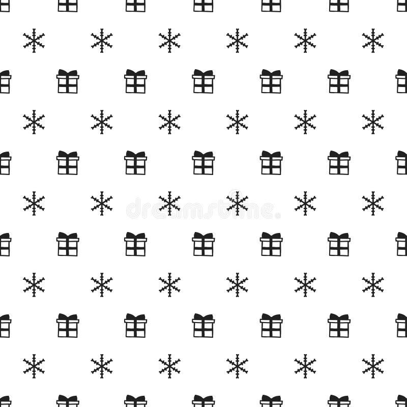 Bożenarodzeniowego nowego roku bezszwowy wzór z płatka śniegu prezenta teraźniejszością kolor tła wakacje czerwonego żółty Xmas z ilustracja wektor