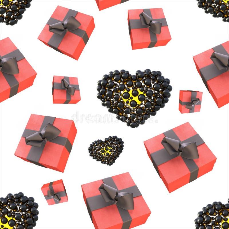 Bożenarodzeniowego nowego roku prezenta kolorowi czerwoni pudełka i serca z łękami faborki lata na białym tle bezszwowy wzoru 3d  ilustracja wektor