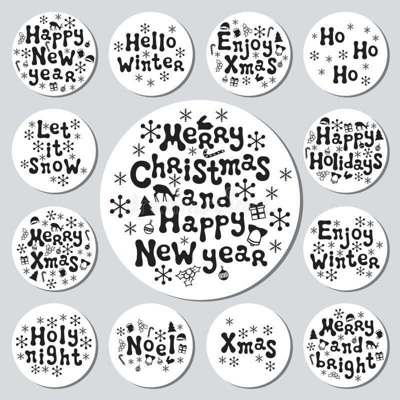 Bożenarodzeniowego nowego roku prezenta round majchery Przylepia etykietkę xmas set sporządzić dekoracyjna element ręka Kolekcja  ilustracji