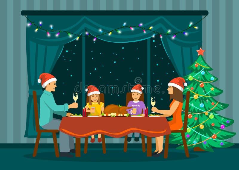 Bożenarodzeniowego nowego roku Rodzinny wieczór ilustracja wektor