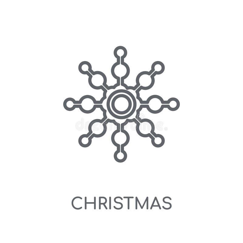 Bożenarodzeniowego płatek śniegu liniowa ikona Nowożytny konturów bożych narodzeń snowfl royalty ilustracja