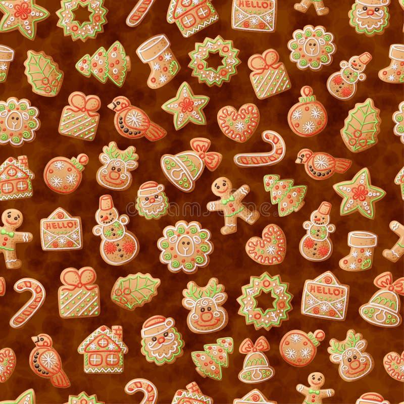 Bożenarodzeniowego piernikowego ciastka bezszwowy wzór Słodka karmowa kreskówka wektoru ilustracja royalty ilustracja